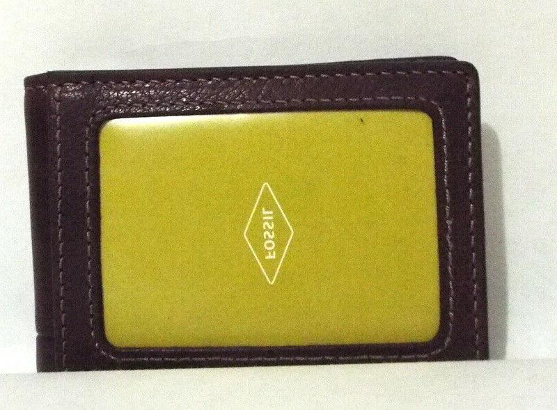 Fossil Clip Leather Money Clip Brown