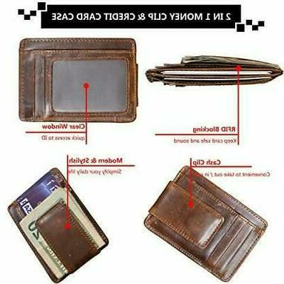 RFID Clip Slim Front Magnetic ID Wallet