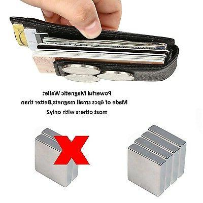 Kinzd Mens Wallet Magnet Money Clip Credit Cards Holder Black