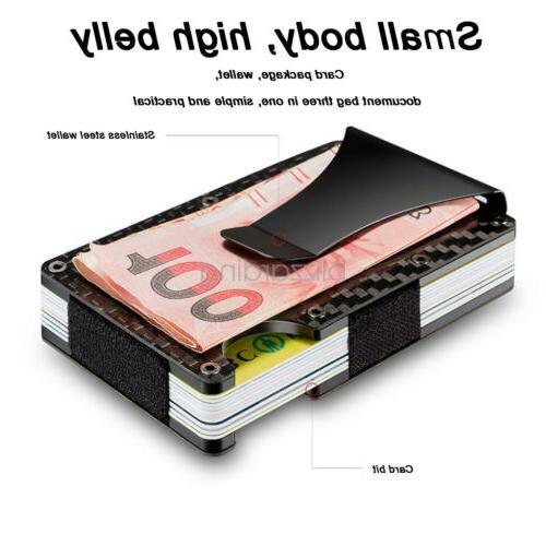 RFID Carbon Fiber Minimalist Ridge Money Clip Card Pocket