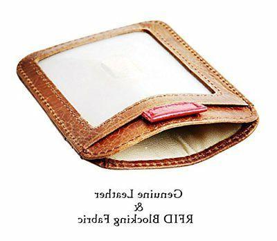 RFID Pocket Wallet Genuine Leather Clip
