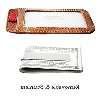 RFID Pocket Lightweight,Slim Genuine Clip Brwn