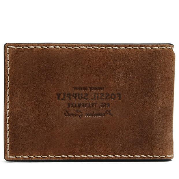 russell rfid money clip bifold cognac wallet