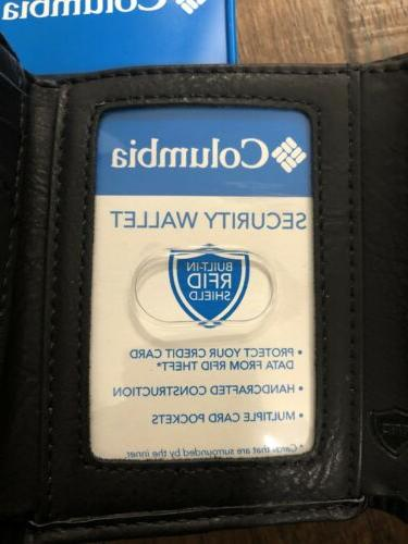 Columbia In RFID Black Leather New In Box