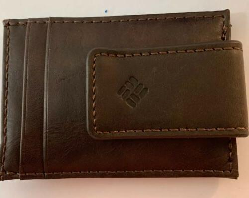 Columbia Security Wallet Built In Shield Leather New In
