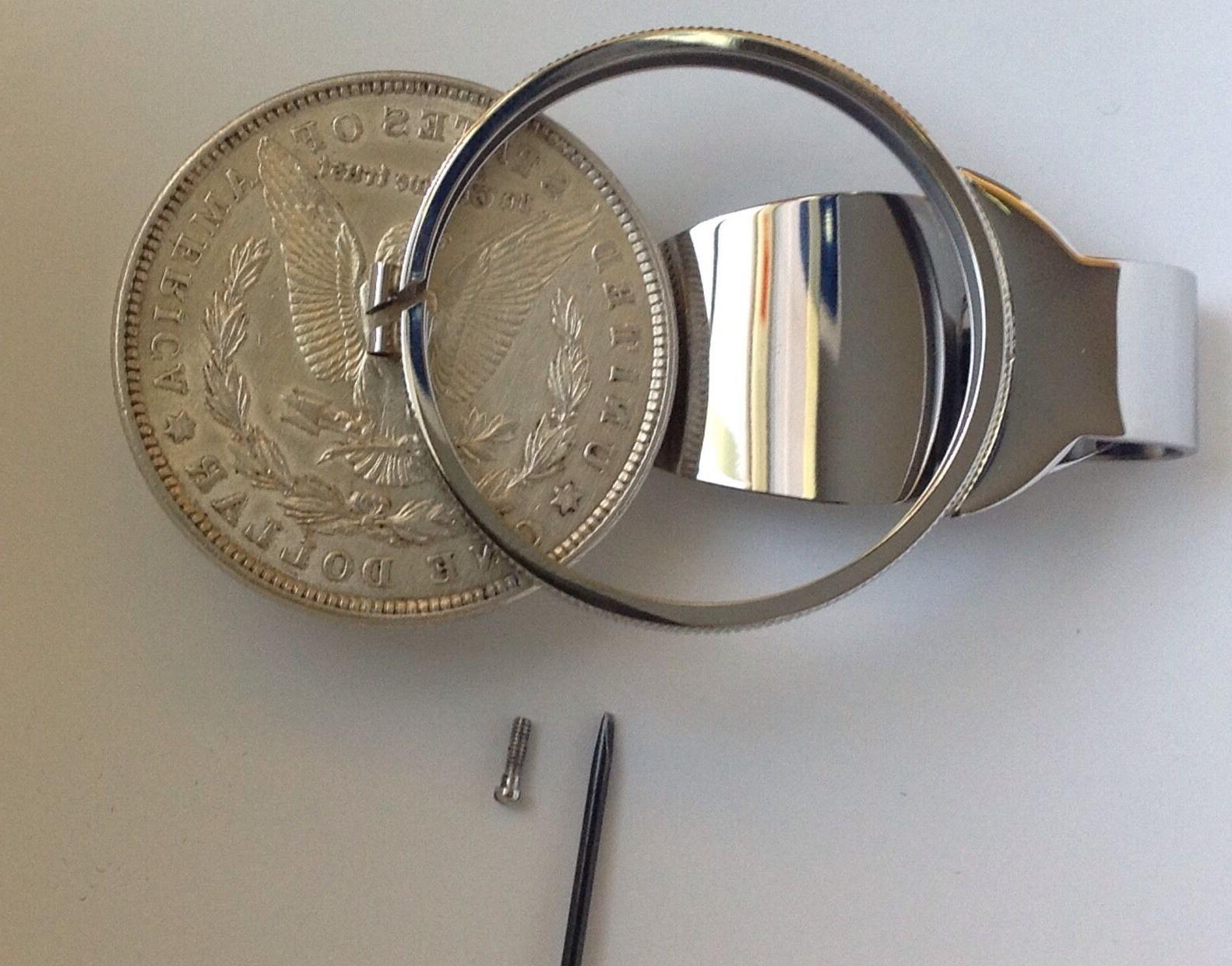 Silver Clip Coin Holder Bezel Morgan