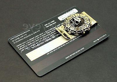 Skull Stainless Clip Cash Holder Wallet Bronze Gold 3D