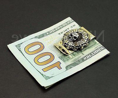 Skull Clip Holder Wallet Bronze 3D