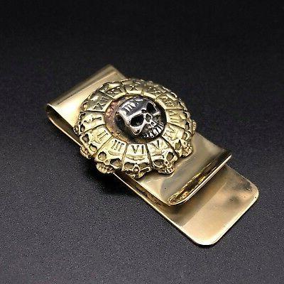 Skull Stainless Clip Holder Wallet Gold 3D