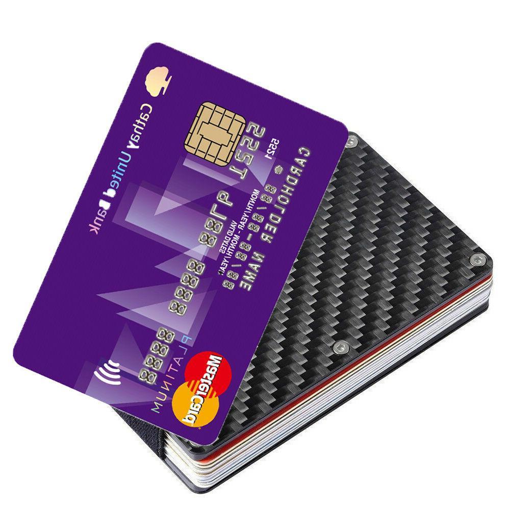 Slim Carbon Credit Card Holder Metal Money Clip Purse Wallet