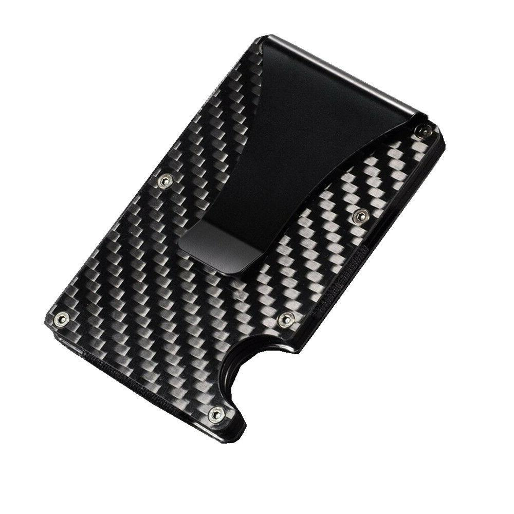 Slim Fiber Card RFID Blocking Metal Wallet