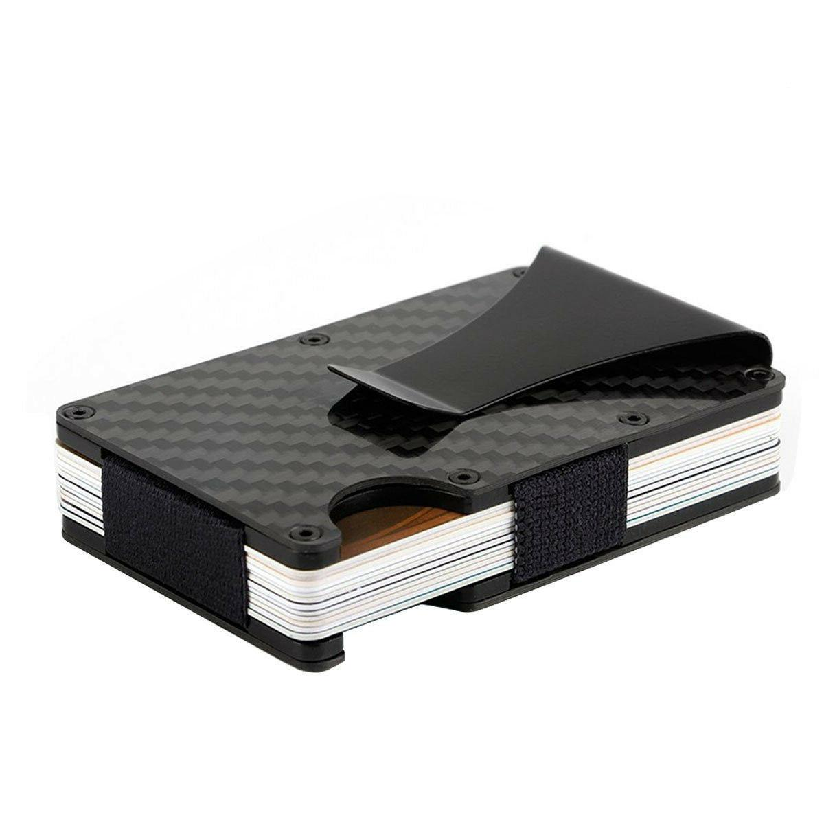 Slim Carbon Card Metal Money Purse Wallet