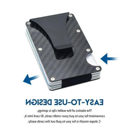 Slim Metal Carbon Fiber Credit Card Holder RFID Blocking Wal