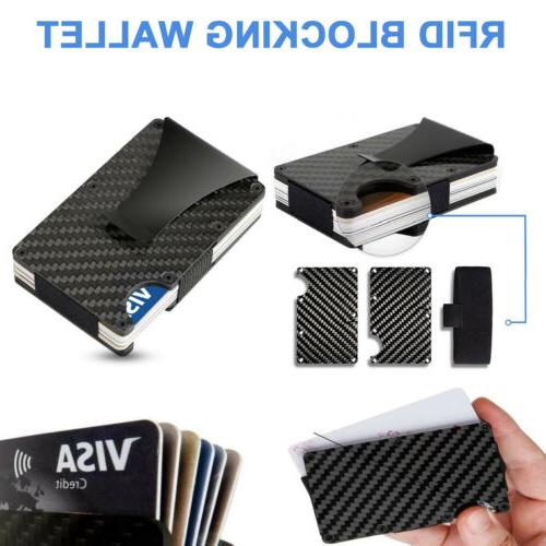 Slim Carbon Fiber Credit Card Blocking Metal Wallet Money Purse