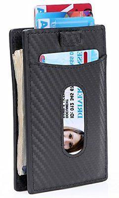 Kinzd Slim Carbon Fiber Money Clip Wallet Minimalist RFID Fr