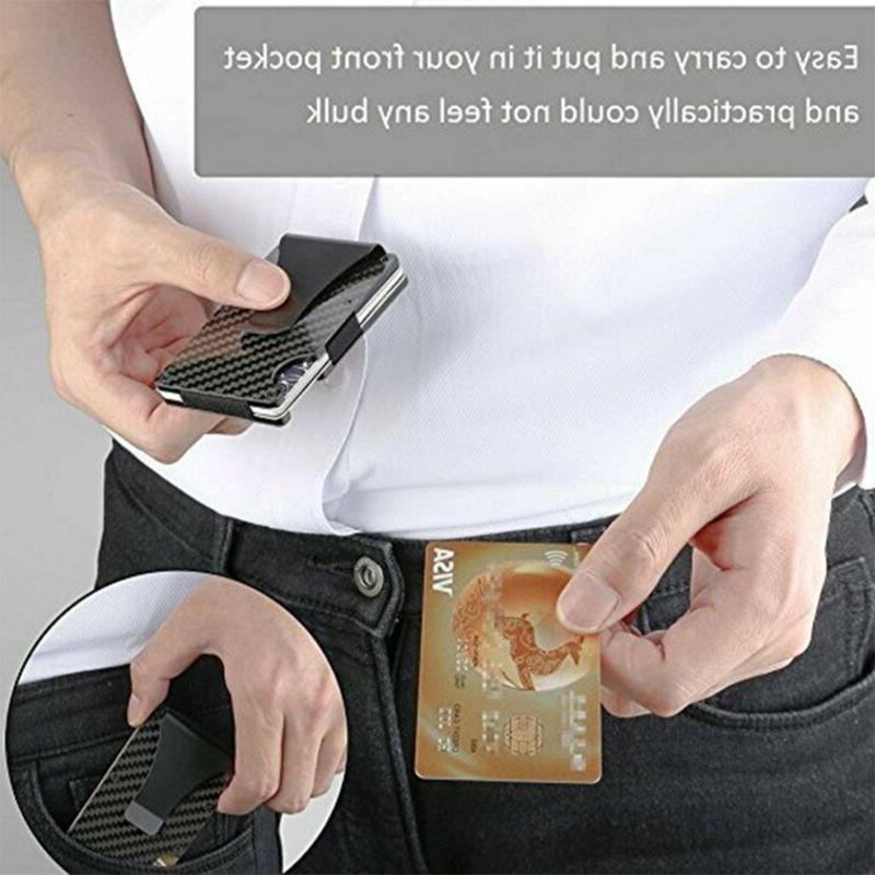 Slim Metal Credit Holder RFID Wallet Clip Elastic Purse