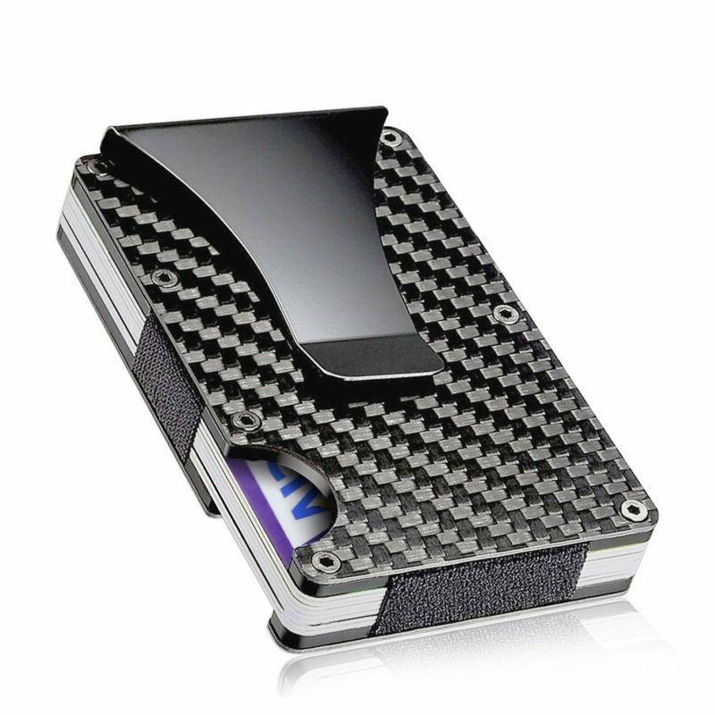 slim metal carbon fiber credit card holder
