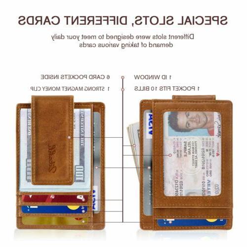 Slim Minimalist Bifold Pocket with Magnet Clip for men