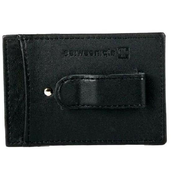 slim money clip black leather