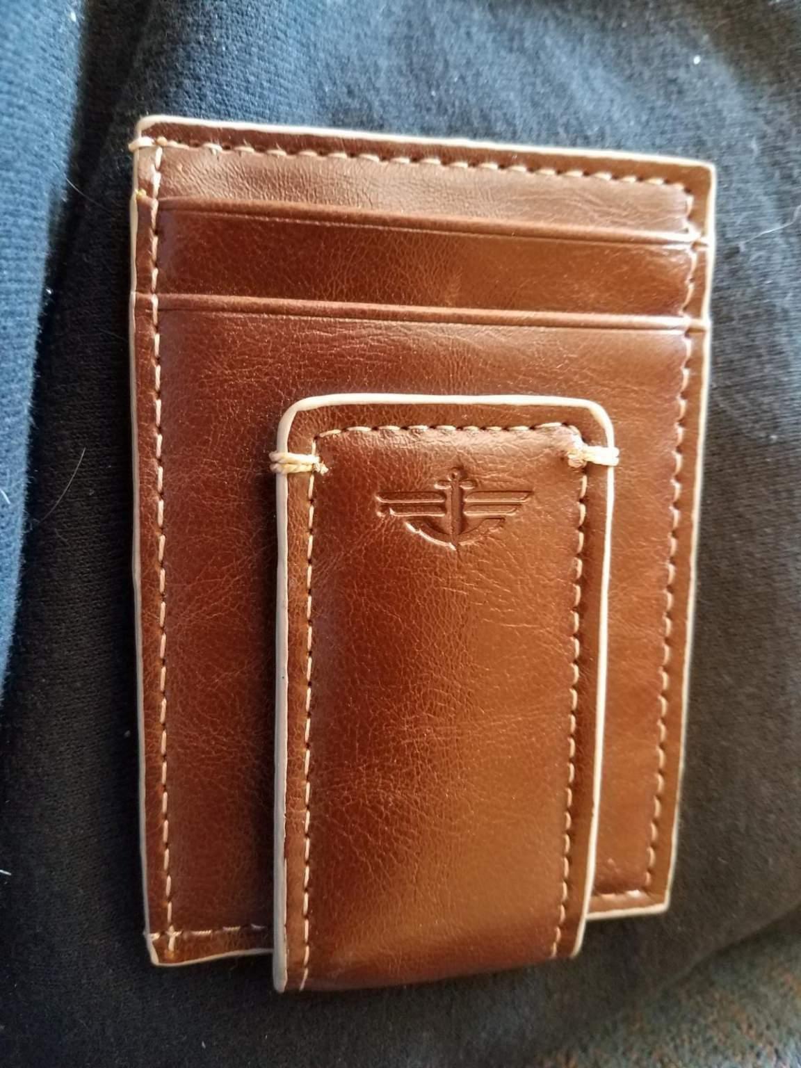 slim series brown front pocket wallet w