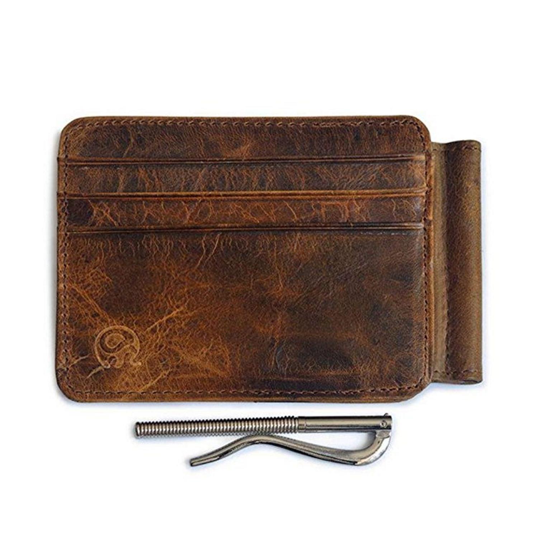 Slim Mens Leather Wallet Money Clip Card ID Pocket