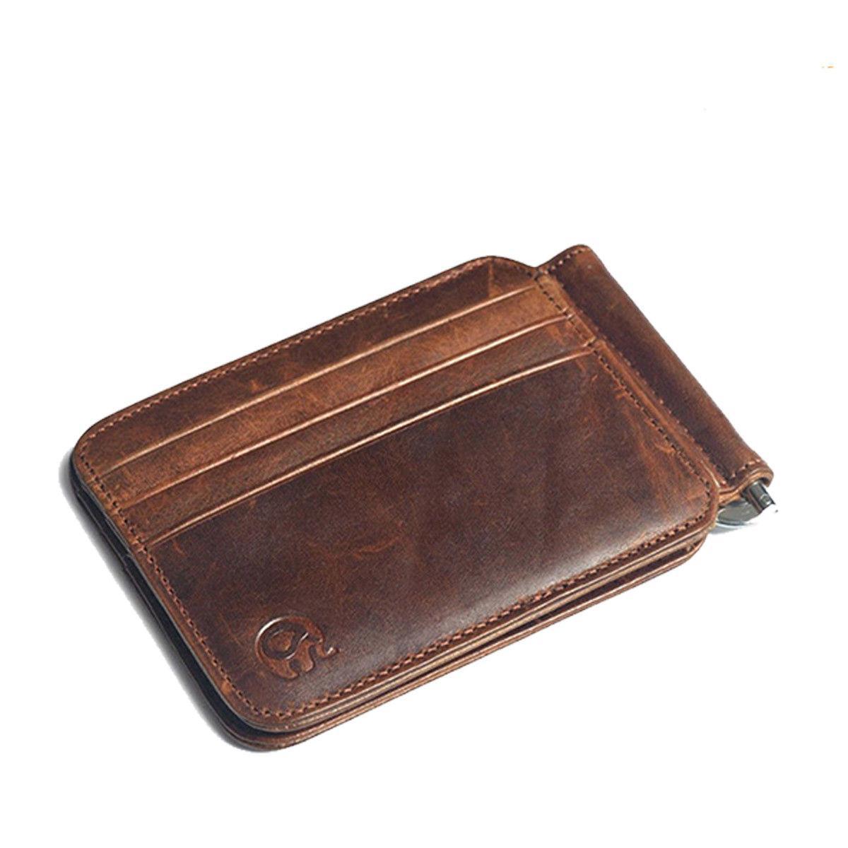 Slim Mens Leather Wallet Money Clip Card Pocket
