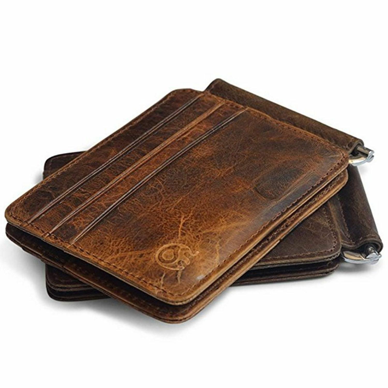 Slim Leather Wallet Clip Card Pocket