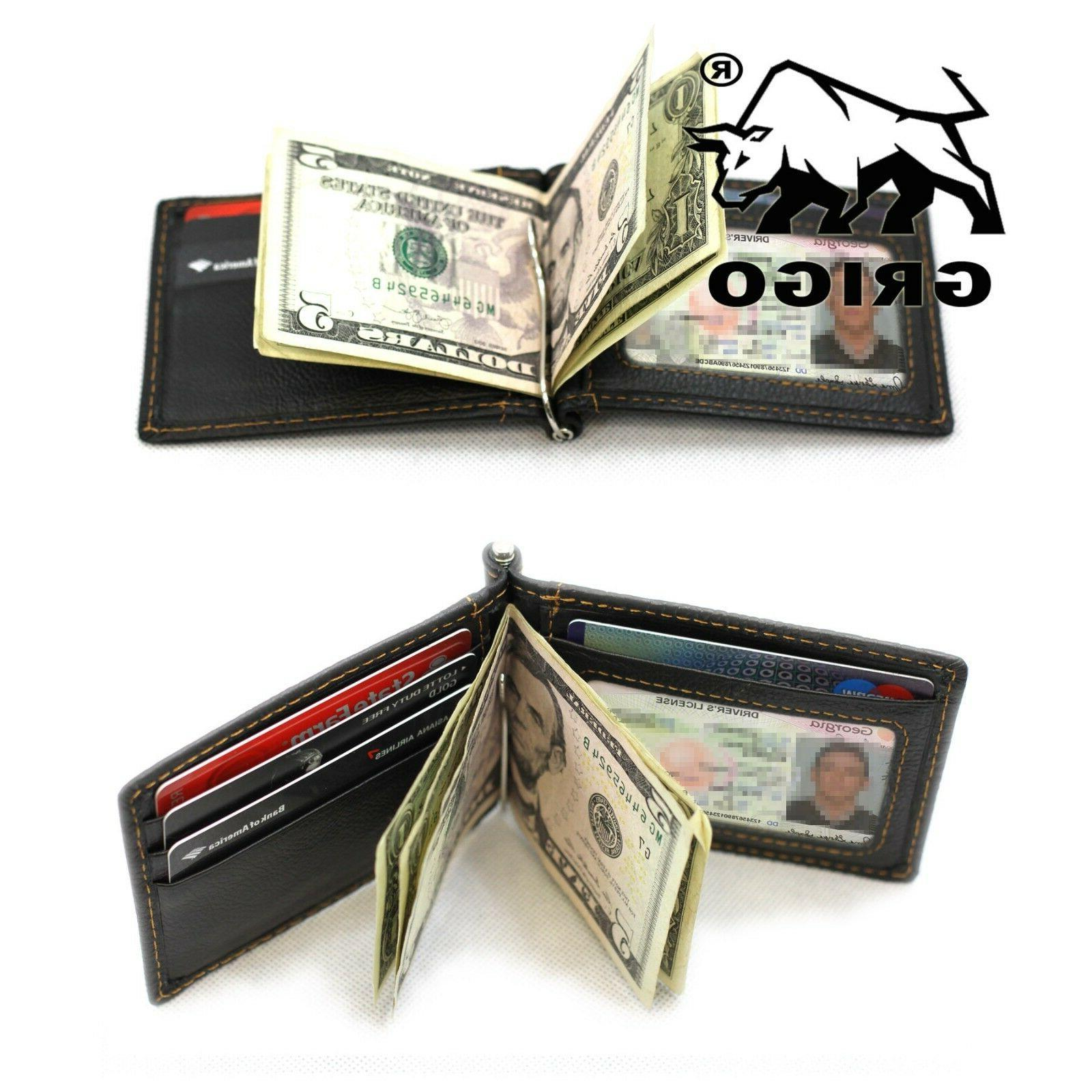 Slim Thin Leather Wallet Money Card ID Holder Pocket