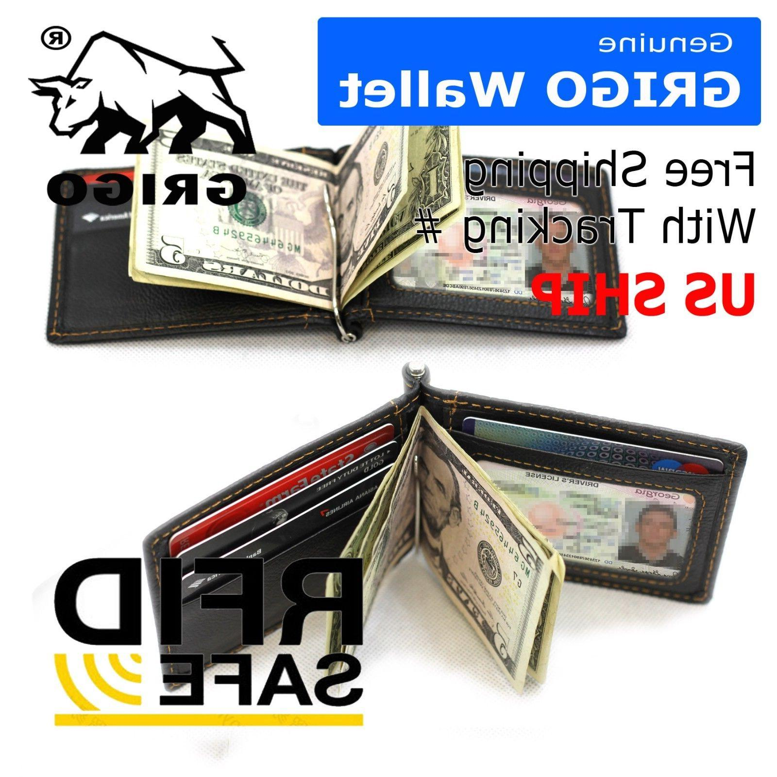 slim thin mens leather wallet money clip