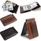 slim thin mens leather wallet money clip