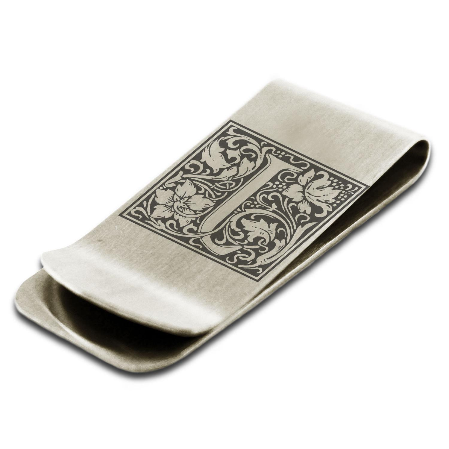 Stainless Steel Floral Box Monogram Slim Wallet Cash Card Ho