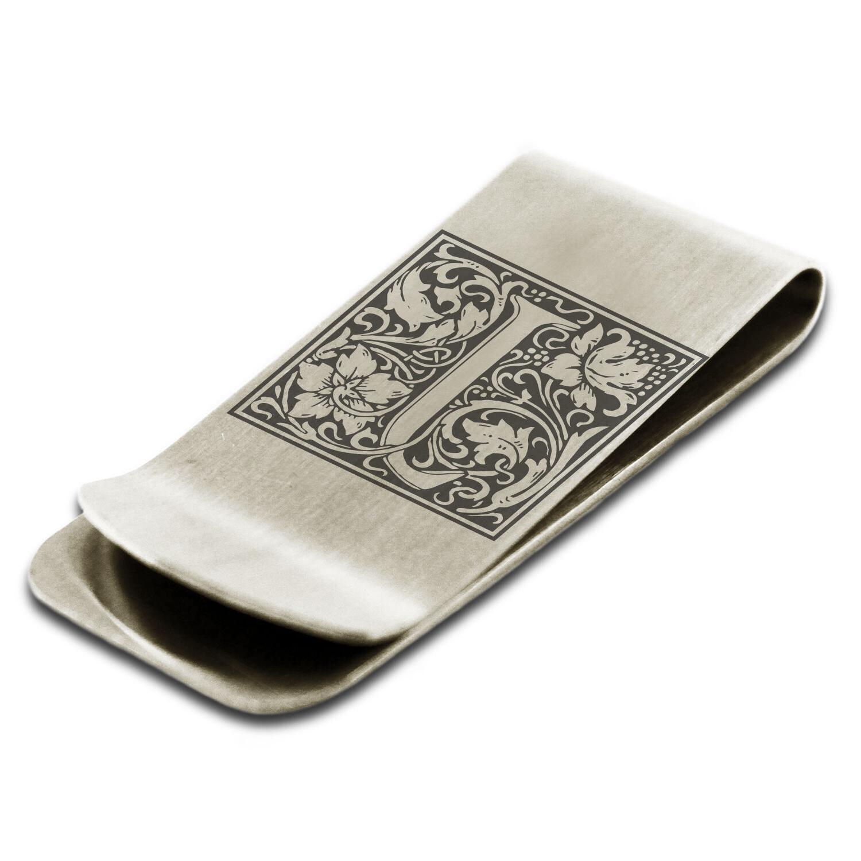 Stainless Steel Floral Initial Box Monogram Slim Wallet Cash