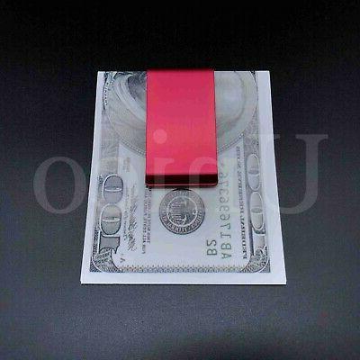 2 PC Steel Slim Clip Cash Credit Holder Red