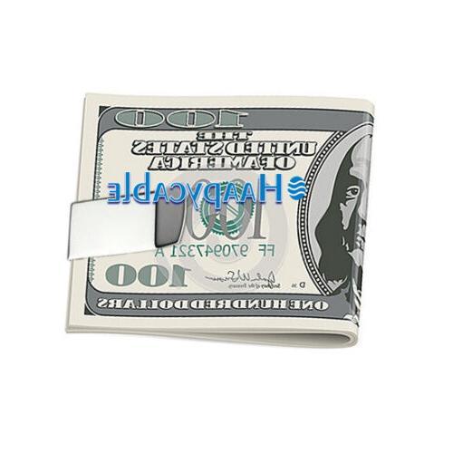 New Stainless Steel Slim Money Clip Cash Credit Card Metal Wallet
