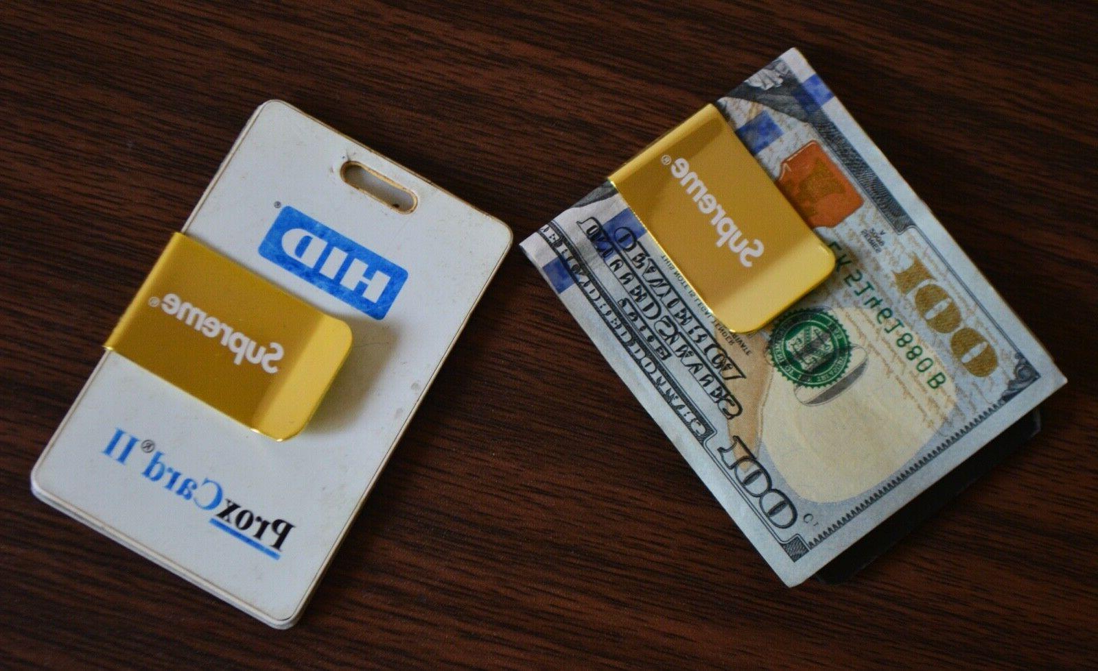 supreme money clip box logo gold credit