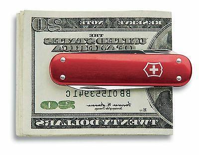 swiss army knife money clip alox red