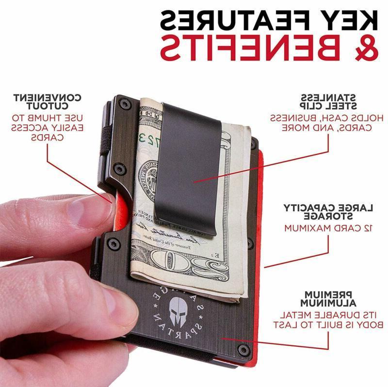 Savage Spartan Aluminum Metal Card Holder With Money Clip