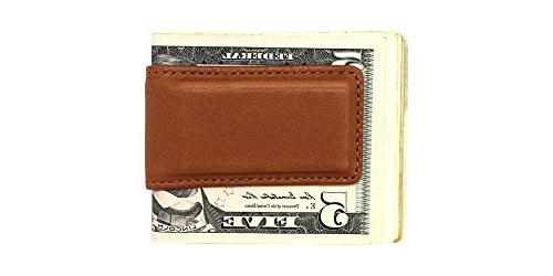 Tan Montana Leather Magnetic Money Clip American Money Holder in Real Leather Creations