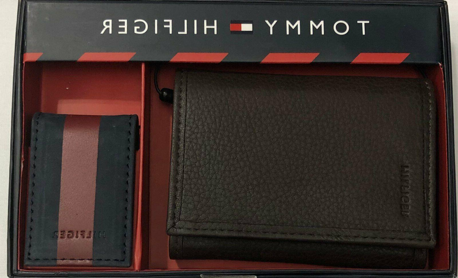 tommy hifilger men s leather trifold w