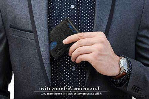 Travel Wallet with Money Clip Made From Full Leather- Jet Black