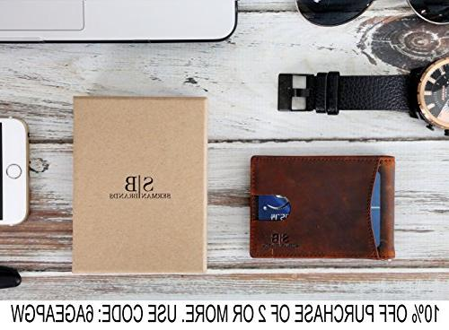 Travel Bifold Genuine Leather Thin Front Pocket Wallets Clip Made Full Leather