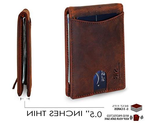 Travel Wallet Bifold Thin Minimalist Front Wallets for Clip - Made From Full Grain
