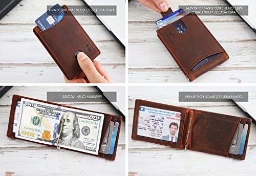 Travel RFID Blocking Bifold Slim Thin Minimalist Front Pocket Wallets Men Clip -