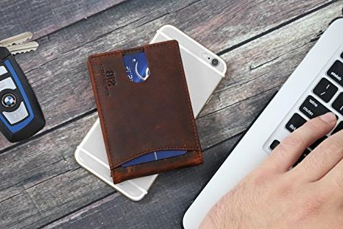 Travel Wallet Bifold Leather Thin Pocket Wallets Clip - From Full Grain Leather