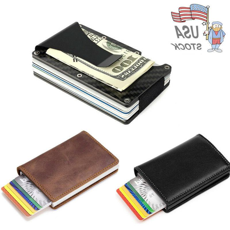 NEW Leather Slim Money Clip Credit Carbon Card Holder Cash W