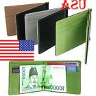 Unisex Ultra-Thin Money Clip Faux Leather Card Holder Bifold