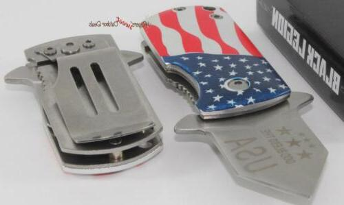 united american flag spring assisted money clip