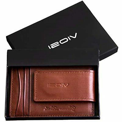 VIOSI Money Leather Wallet Front Pocket Credit Card Holder