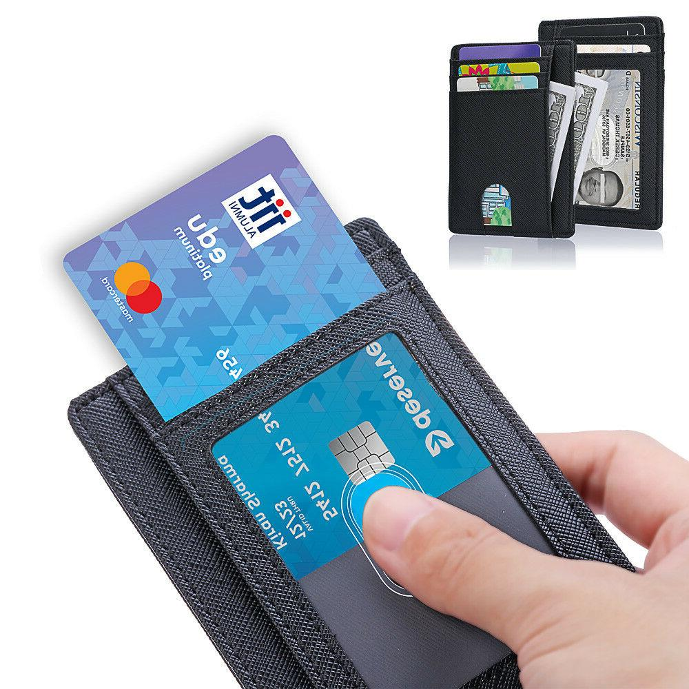 Wallet for Slim Leather Clip RFID Blocking
