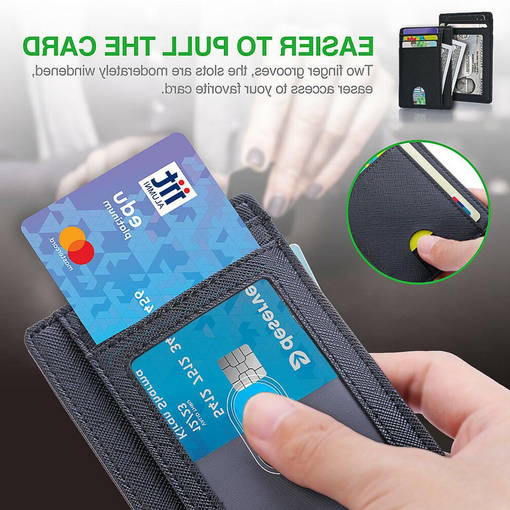 Wallet for Slim Leather Clip Window RFID